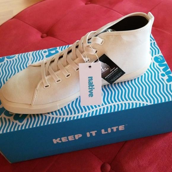 Native Shoes Mens Monaco Mid Wax Canvas Sneaker Fashion